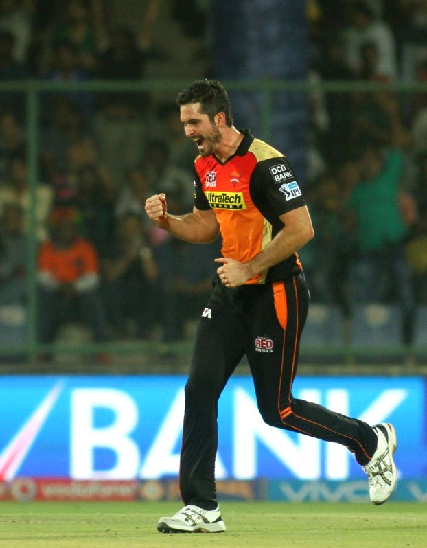 Ben Cutting of Sunrisers Hyderabad celebrates fall of a wicket during Qualifier 2 of IPL 2016 between Gujarat Lions and Sunrisers Hyderabad at Feroz Shah Kotla Stadium in New Delhi on May ...