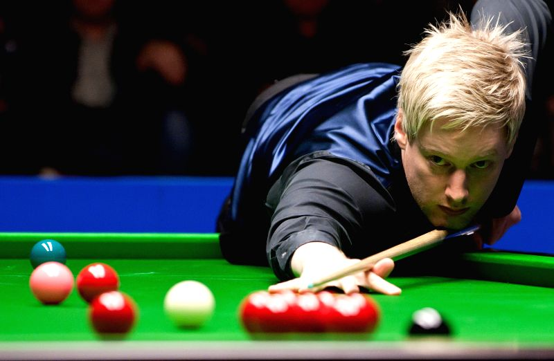 Neil Robertson of Australia competes during his semifinal match against Mark Davis of England at the 2014 Australian Goldfields Snooker Open in Bendigo, Australia, ..