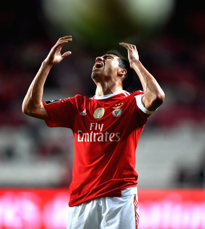 Benfica's Nico Gaitan reacts during 12th round of the Portuguese League Football Match between SL Benfica and A. Academica at the Luz stadium in Lisbon on Dec. 4, ...