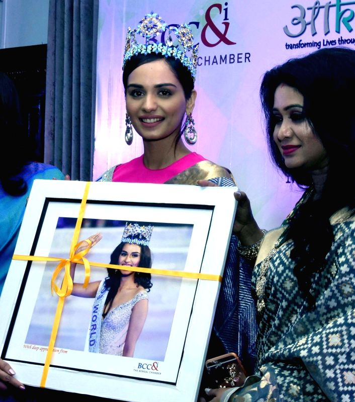 Bengal Chamber and Commerce Industry felicitate Miss World 2017 Manushi Chhillar in Kolkata on Feb 2, 2018.