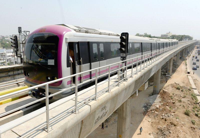 A Bengaluru metro rake during trail run between Magadi Road to Mysore Road on March 27, 2015.