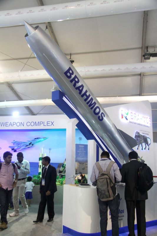 A Brahmos cruise missile model on display during the Aero India-2015 Air Show, at Yelahanka Air-force Station, in Bengaluru on Feb 19, 2015.