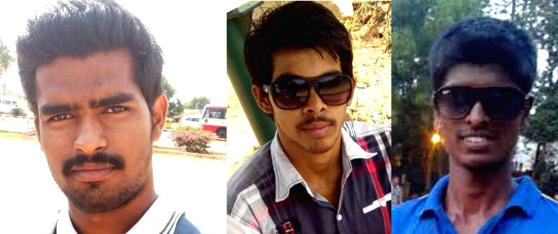(A combo picture) The three of the five engineering students who drowned in a stone quarry pit, in Bettahalasur of Chikkajala, near Yelahanka Air force Station, in Bengaluru on April 23, ...