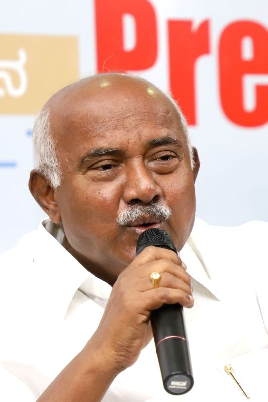 Bengaluru: A.H. Vishwanath, who resigned from the post of Karnataka JD-S President, addresses a press conference in Bengaluru, on June 4, 2019.