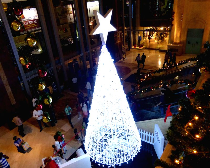 A mall decked up ahead of Christmas in Bengaluru, on Dec 22, 2014.