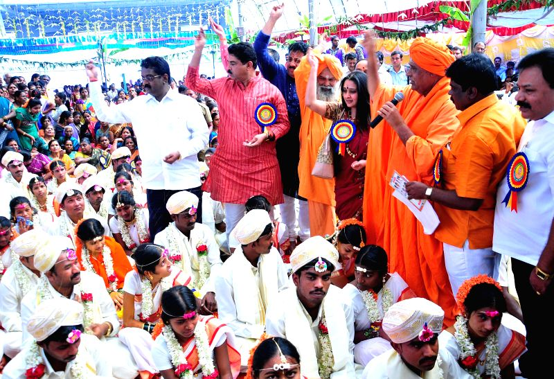A mass marriage programm organised by Sri Banashankari Mass marriage forum at Banashankari temple premises, in Bengaluru on Feb 5, 2015.