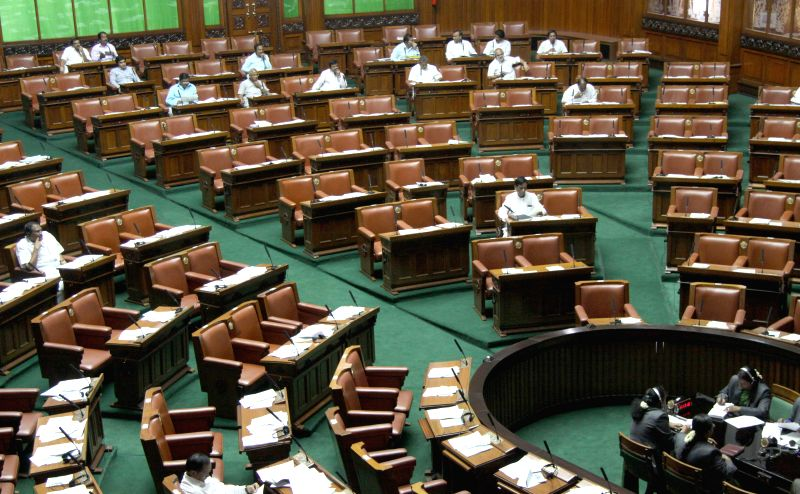 A view of vacant seats in Karnataka assembly, in Bengaluru on March 24, 2015.