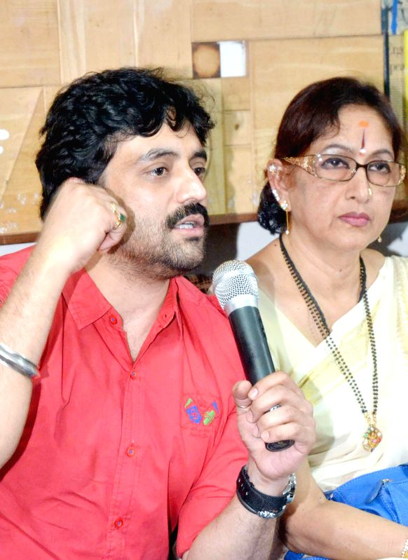 Actor Anirudh and Bharati Vishnuvardhan, the wife of late actor Vishnuvardhan address a press conference regarding a programme scheduled to be organised on  Vishnuvardhan's fifth death ... - Anirudh