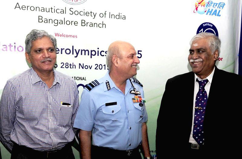 Bengaluru: Air Marshal R K Dhir and Scientist and Director Aeronautical Development Establishment (ADE) M V K V Prasad during the inauguration of `Aerolympics-2015` at HAL Management Academy ...