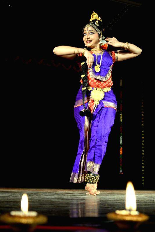 An artist performs Bharatanatyam during `Sankramana - 2015` organised by  at Nayana Auditorium in Bengaluru on Feb 12, 2015.