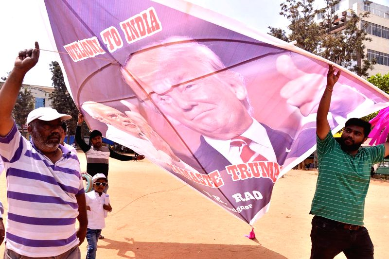 Bengaluru: An artiste flying a 15 feet long kite with portraits of US President Donald Trump and Indian Prime Minister Narendra Modi, ahead of the US President Trump upcoming visit to India on 24 to 25 February 2020 , in Bengaluru on Feb 24, 2020. (P