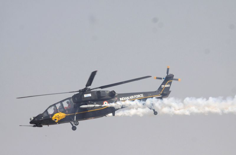 An IAF aircraft during the Aero India-2015 Air Show, at Yelahanka Air-force Station, in Bengaluru on Feb 19, 2015.