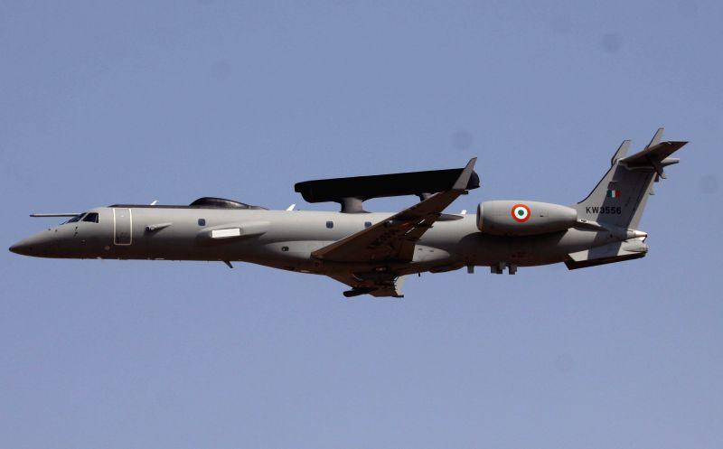 An IAF aircraft during the Aero India-2015 Air Show, at Yelahanka Air-force Station, in Bengaluru on Feb 20, 2015.