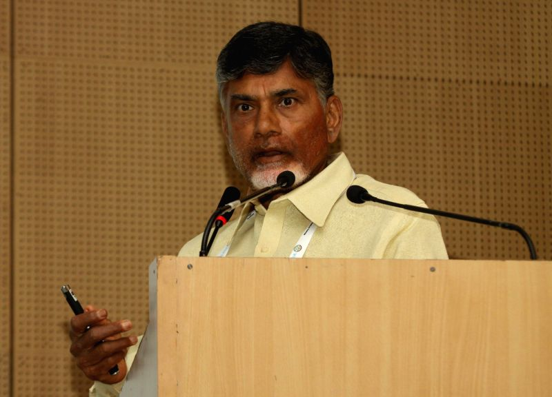 Andhra Pradesh Chief Minister N. Chandrababu Naidu addresses during an interactive session organised at the Aero India-2015 Air Show in Bengaluru on Feb 19, 2015. - N. Chandrababu Naidu