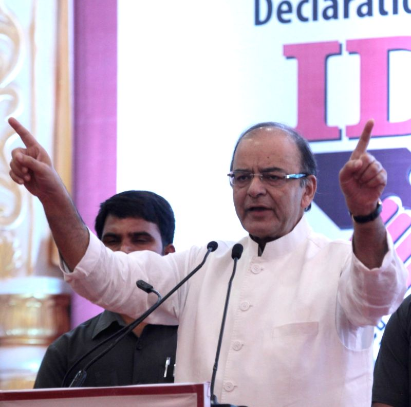 Bengaluru : Arun Jaitley, Union Minister for Finance and Corporate Affairs addressing at the inauguration of Income Tax Declaration Scheme 2016, in Bengaluru on July 23, 2016. - Arun Jaitley