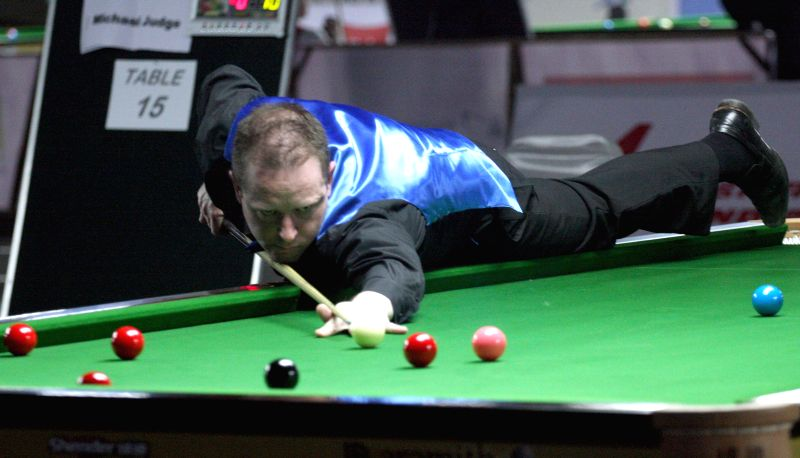 Australian player Matthew Bolton in action during IBSF World Snooker Championships at Kanteerava Stadium, in Bengaluru on Nov. 27, 2014.