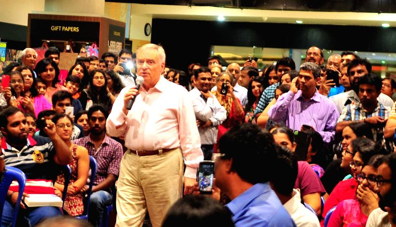 Author Lord Jeffery Archer interacts with audience during the launch of his new book `Mightier than the Sword` in Bengaluru, on March 4, 2015.