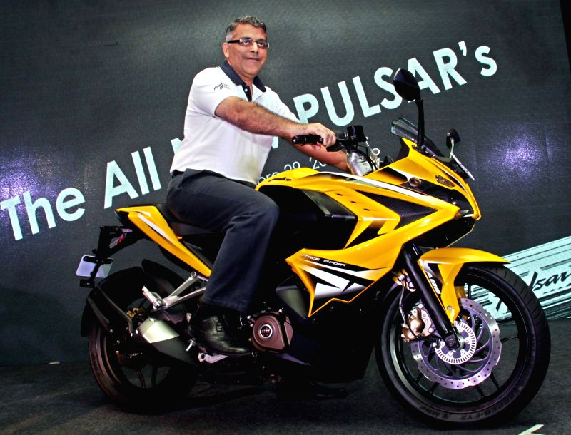 Bajaj Auto President (Motorcycles Business) Eric Vas at the launch of a new Bajaj Pulsar bike during a press conference in Bengaluru, on April 29, 2015.