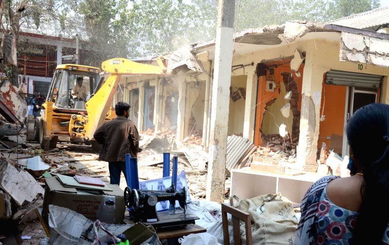 BBMP demolishes old Malleshwaram market on court orders in Bengaluru, on Jan 22, 2015.