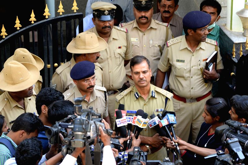 Bengaluru Additional Commissioner of Police Alok Kumar addresses press at the spot where six members of a family, committed suicide at their residence in Nagarbhavi of Bengaluru on March ... - Alok Kumar