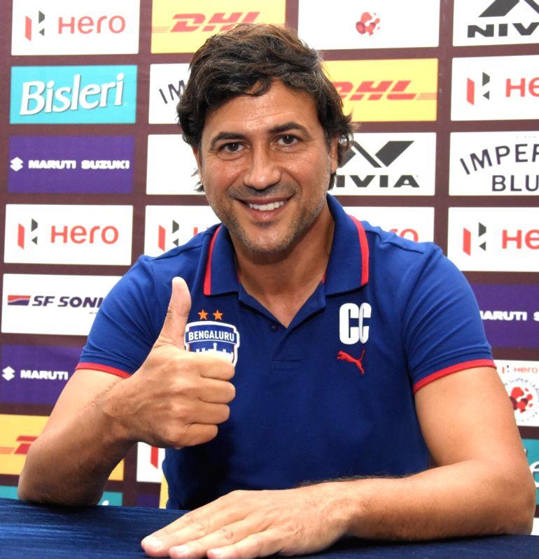 Bengaluru: Bengaluru FC coach Carles Cuadrat addresses a press conference on the eve of ISL 2018 match between Bengaluru FC vs Chennaiyin FC, in Bengaluru on Sept 29, 2018.