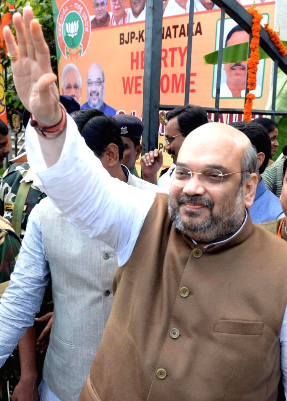 BJP chief Amit Shah arrives to attend a programme organised for the BJP membership review in Bengaluru on Jan. 3, 2015.