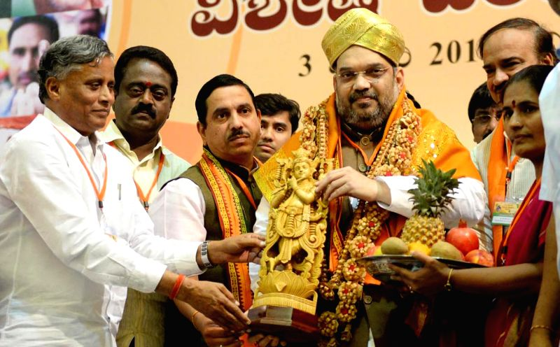 BJP chief Amit Shah during a programme organised for the BJP membership review in Bengaluru on Jan. 3, 2015.