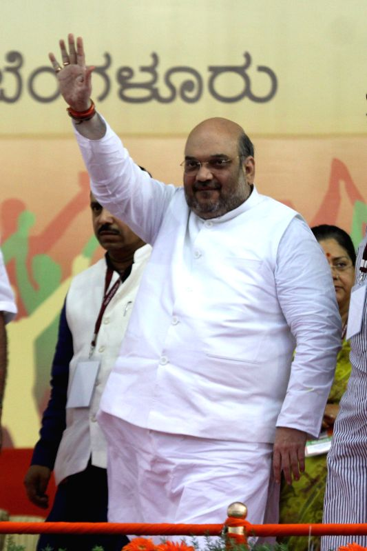 BJP chief Amit Shah during a public meeting in Bengaluru, on April 3, 2015. - Amit Shah