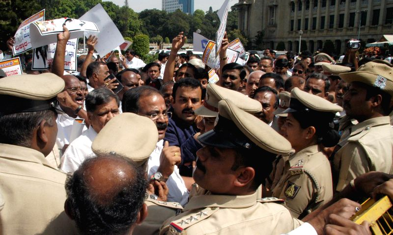 BJP leaders BS Yeddiyurappa, Jagadish Shettar, Prahalad Joshi and KS Eshwarappa protest against Karnataka Government at Vidhana Soudha, in Bengaluru on Nov. 20,  2014. - Prahalad Joshi