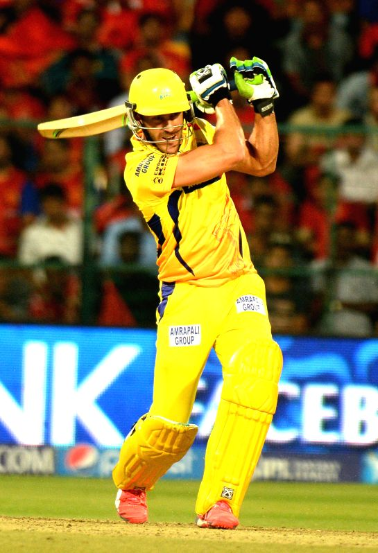 Chennai Super Kings batsman Faf du Plessis in action during an IPL-2015 match between Royal Challengers Bangalore and Chennai Super Kings at M Chinnaswamy Stadium, in Bengaluru, on April ... - Faf