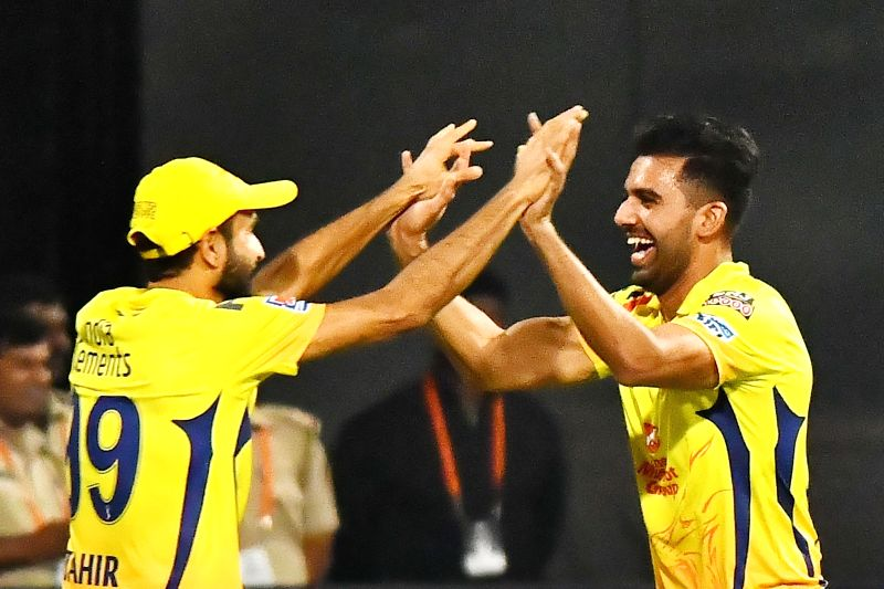 Bengaluru: Chennai Super Kings' Deepak Chahar celebrates fall of Virat Kohli's wicket during the 39th match of IPL 2019 between Royal Challengers Bangalore and Chennai Super Kings at M.Chinnaswamy Stadium in Bengaluru, on April 21, 2019. (Photo: IANS