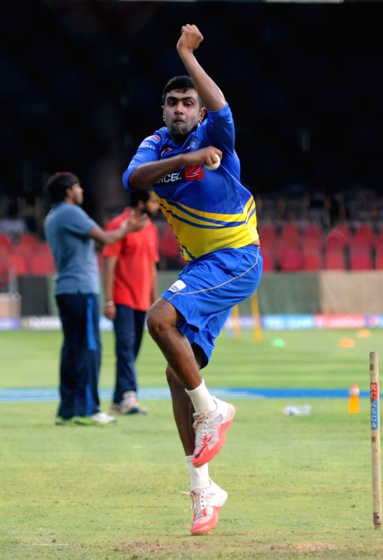 Chennai Super Kings player Ravichandran Ashwin during a practice session at M Chinnaswamy Stadium in Bengaluru on April 21, 2015.