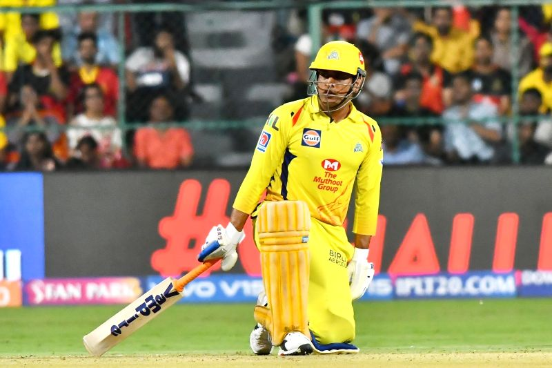 Bengaluru: Chennai Super Kings' skipper MS Dhoni in action during the 39th match of IPL 2019 between Royal Challengers Bangalore and Chennai Super Kings at M.Chinnaswamy Stadium in Bengaluru, on April 21, 2019.
