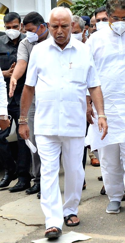 Bengaluru: Chief Minister of Karnataka BS Yediyurappa, comes out of at Raj Bhavan after the resigned from CM Post, in Bengaluru on Monday, July 26, 2021.