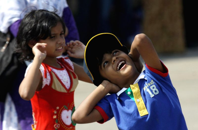 Children at the Aero India-2015 Air Show, at Yelahanka Air-force Station, in Bengaluru on Feb 19, 2015.