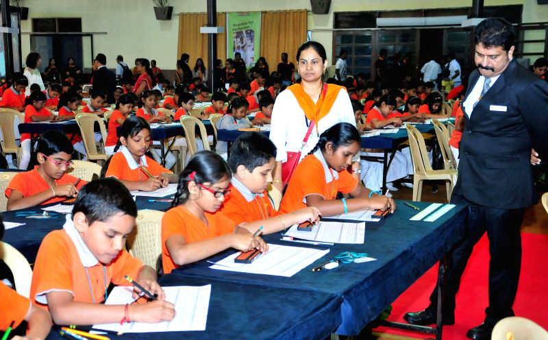 Children participate in the 11th National Abacus, Brain Gym and Mental Arithmetic competition organised in Bengaluru on Nov 23, 2014.