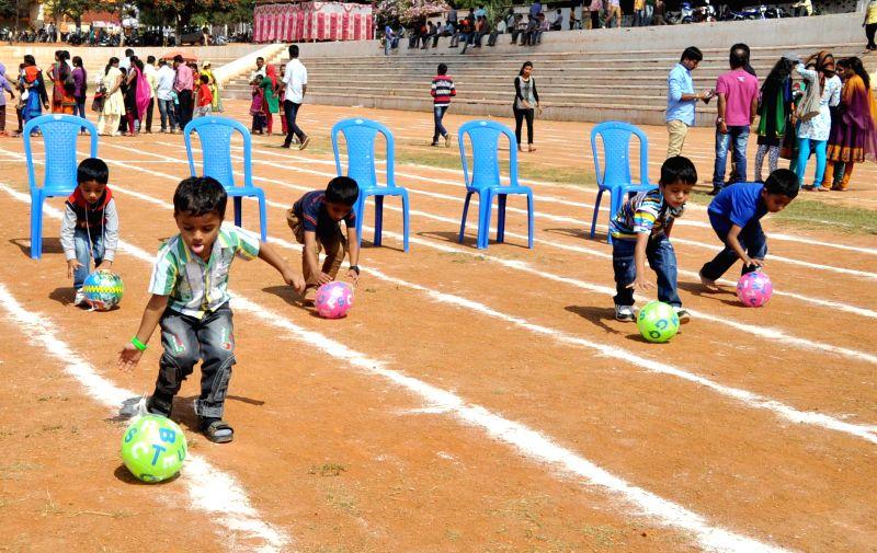 Children participate in the 6th Malenadu Sports meet - 2015 in Bengaluru, on Jan 4, 2015.