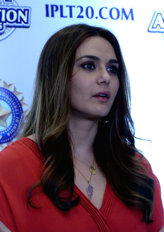 Co-owner of Kings XI Punjab cricket team and actress Preity Zinta at the player auctions of the IPL 2015 edition in Bengaluru, on Feb 16, 2015. - Preity Zinta