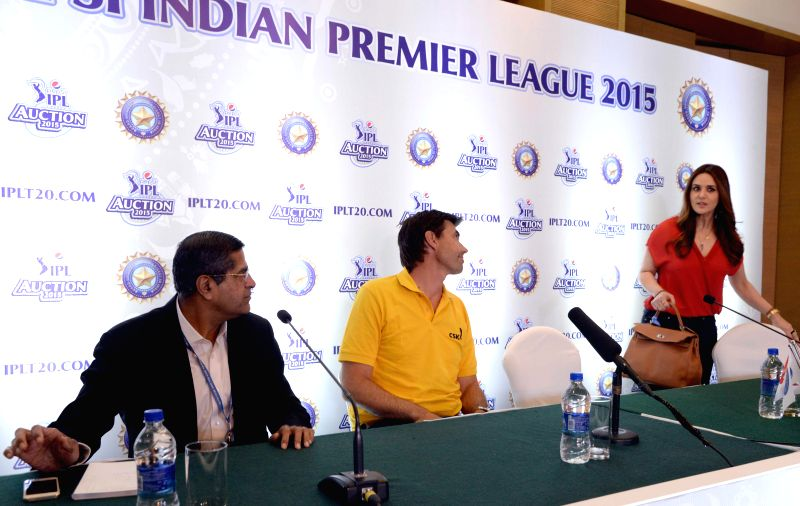 Co-owner of Kings XI Punjab cricket team and actress Preity Zinta and Chennai Super Kings coach Stephen Fleming at the player auctions of the IPL 2015 edition in Bengaluru, on Feb 16, ... - Preity Zinta