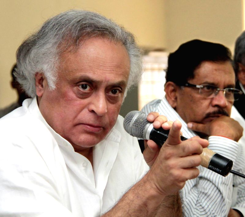 Congress leader Jairam Ramesh addresses a press conference in Bengaluru on April 25, 2015.