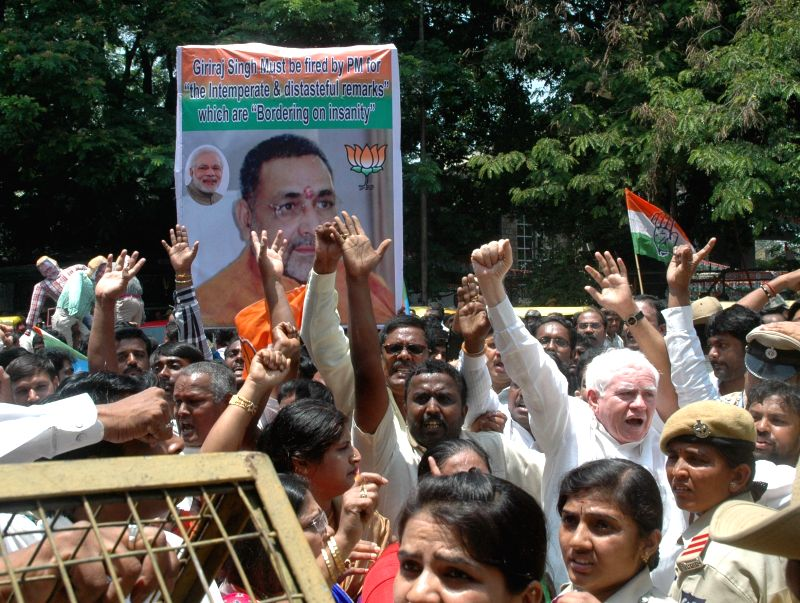 Congress workers stage a demonstration against Union Minister of State for Micro, Small and Medium Enterprises Giriraj Singh's remark that the Congress accepted Sonia Gandhi as its leader ... - Enterprises Giriraj Singh and Sonia Gandhi