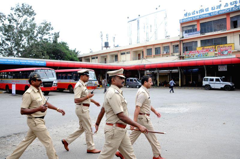 DCP Labu Rram visits KSRTC Bus Stand in the wake of Dec 28 Church street bomb blast, in Bengaluru, on Dec 29, 2014.