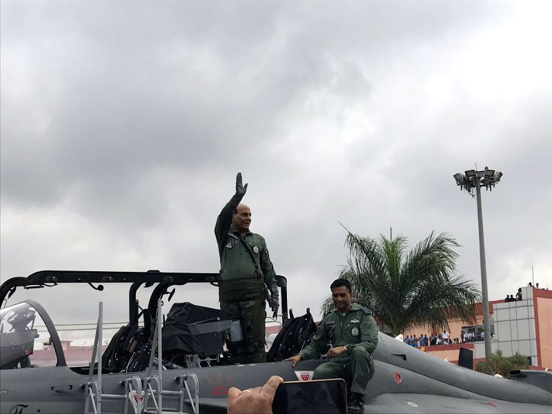 Bengaluru: Defence Minister Rajnath Singh ready for a sortie on the LCA 'Tejas' in Bengaluru on Sep 19, 2019. (Photo: Twitter/DefenceMinIndia)