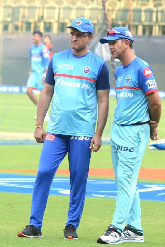 Bengaluru: Delhi Capitals' Sourav Ganguly and Ricky Ponting during a practice session ahead of an IPL 2019 match against Royal Challengers Bangalore in Bengaluru on April 6, 2019.