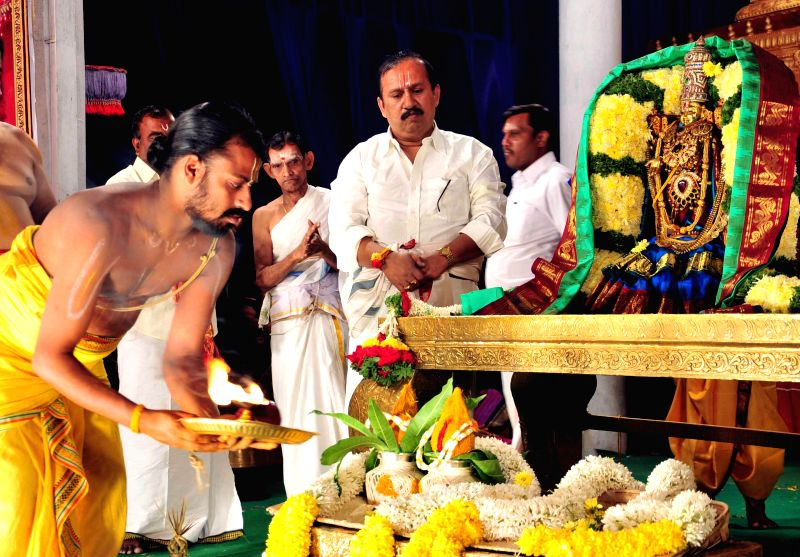 Dr. Raju, a BBMP councilor organises `Sri Srinivasa Kalyanotsava` - customarily performed for seeking the god's grace for the welfare of the world - to control swine flu at Vijaya Nagar, ...
