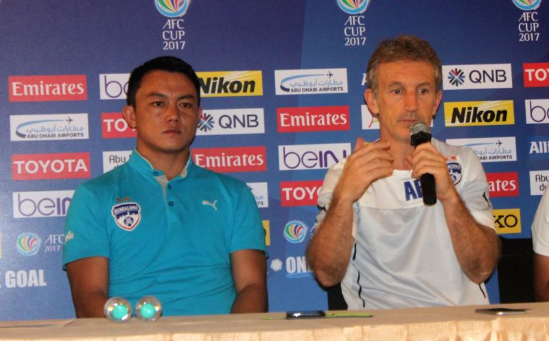 Bengaluru FC coach Albert Roca (R) and Lalthuammawia Ralte during a press conference regarding AFC Cup in Kolkata on May 16, 2017.