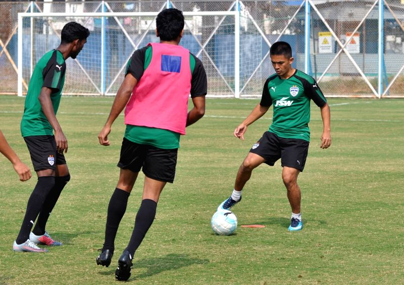 Bengaluru FC  players practice ahead of the ISL match against ATK in Kolkata on Feb 2, 2018.