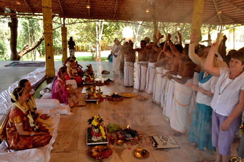 Bengaluru : Five Russian couples getting married in Vedic tradition in Bengaluru on Feb. 15, 2015.
