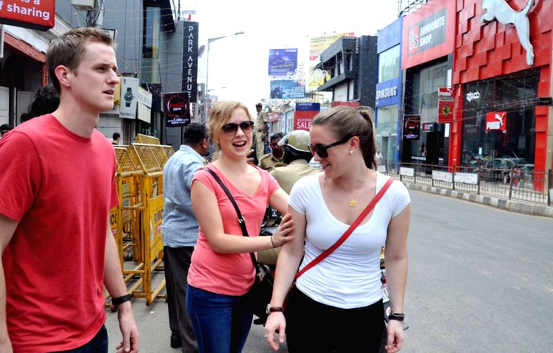 Foreigners gather at Brigade Road to participate in new year's celebrations in Bangalore on 31st of December 2014