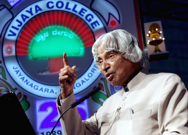 Former Indian President APJ Abdul Kalam addresses during the silver jubilee celebrations of Vijaya College, in Bengaluru on March 30, 2015.